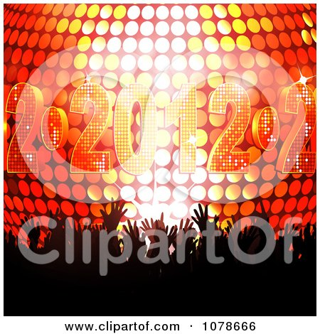 Clipart Silhouetted Hands In A Crowd Over A 3d 2012 New Year Disco Ball - Royalty Free Vector Illustration by elaineitalia