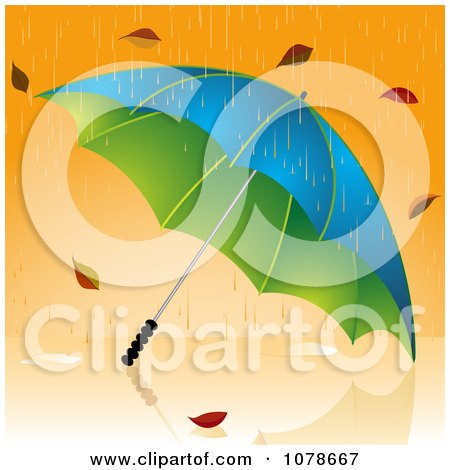 Clipart 3d Umbrella Being Pounded With Rain And Autumn Leaves - Royalty Free Vector Illustration by elaineitalia