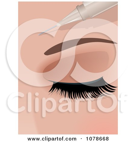 Clipart 3d Botox Needle Injecting Into A Womans Forehead - Royalty Free Vector Illustration by elaineitalia