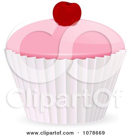 Clipart 3d Iced Cupcake With A Cherry On Top - Royalty Free Vector Illustration by elaineitalia