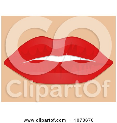 Clipart 3d Womans Red Plump Lips Slightly Open - Royalty Free Vector Illustration by elaineitalia