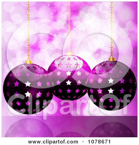 Clipart 3d Purple Starry Christmas Baubles Hanging Over Sparkles - Royalty Free Vector Illustration by elaineitalia