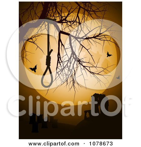Clipart Noose In A Bare Tree Against A Full Moon With Ruins And Bats - Royalty Free Vector Illustration by elaineitalia