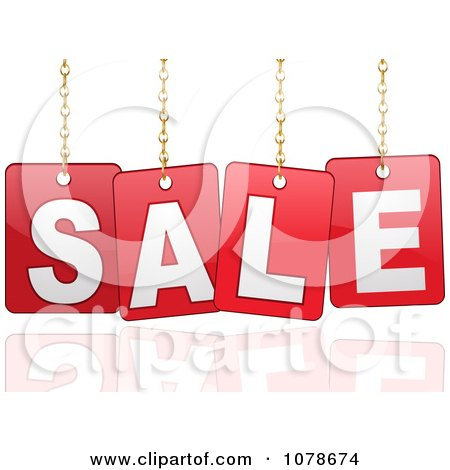 Clipart 3d Red Hanging SALE Signs Over A Reflection - Royalty Free Vector Illustration by elaineitalia
