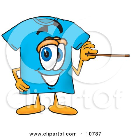 Clipart Picture of a Blue Short Sleeved T-Shirt Mascot Cartoon Character Holding a Pointer Stick by Toons4Biz