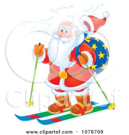 Clipart Santa Skiing - Royalty Free Illustration by Alex Bannykh