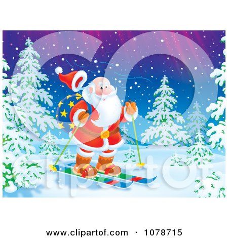 Clipart Santa Skiing In The Woods Under The Northern Lights - Royalty Free Illustration by Alex Bannykh