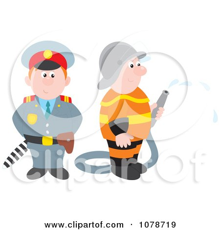 Clipart Police Officer And Fireman - Royalty Free Vector Illustration by Alex Bannykh