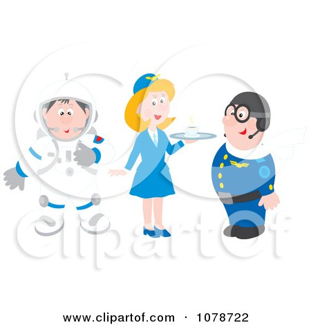 Clipart Astronaut Flight Attendant And Pilot - Royalty Free Vector Illustration by Alex Bannykh