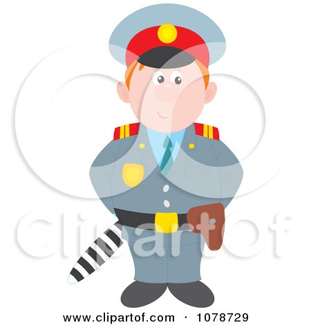 Clipart Policeman Standing With A Club Behind His Back - Royalty Free Vector Illustration by Alex Bannykh