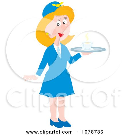 Clipart Female Flight Attendant Serving Coffee - Royalty Free Vector Illustration by Alex Bannykh