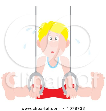Clipart Sweaty Gymnast Man On The Rings - Royalty Free Vector Illustration by Alex Bannykh