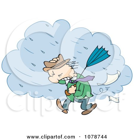 Clipart Toon Guy Walking Through A Strong Rain Storm - Royalty Free Vector Illustration by gnurf