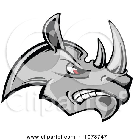 Clipart Mad Gray Rhino Face Logo - Royalty Free Vector Illustration by Vector Tradition SM