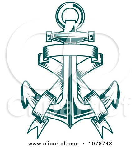 Clipart Teal Nautical Anchor And Banner Logo 3 - Royalty ...