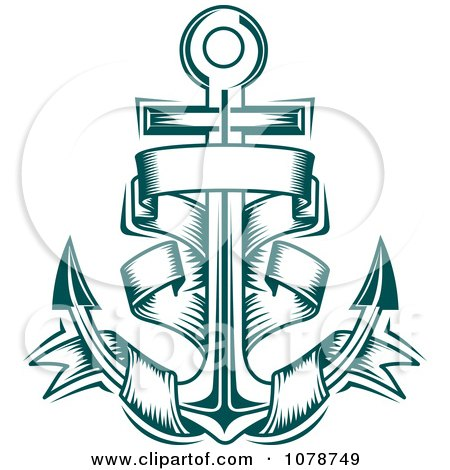 Clipart Teal Nautical Anchor And Banner Logo 4 - Royalty ...