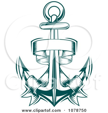 Clipart Teal Nautical Anchor And Banner Logo 1 - Royalty ...