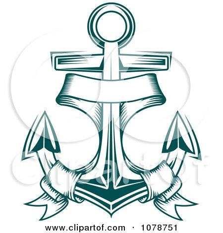 Clipart Teal Nautical Anchor And Banner Logo 2 - Royalty ...
