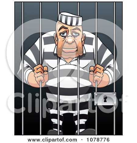 clipart prisoner resting his head between jail cell bars royalty free vector illustration by. Black Bedroom Furniture Sets. Home Design Ideas