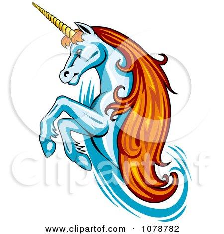 Rearing Unicorn With Orange Hair Logo Posters, Art Prints