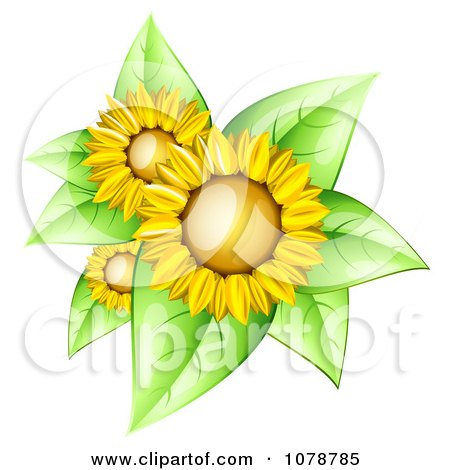 Clipart 3d Shiny Sunflowers With Bright Green Leaves - Royalty Free Vector Illustration by Oligo