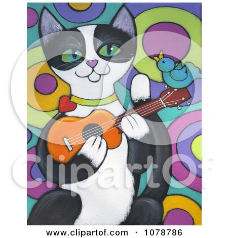 Clipart Happy Tuxedo Cat Playing A Ukulele With A Bird Singing Along - Royalty Free Illustration by Maria Bell