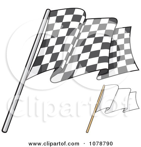 Clipart Checkered And Blank Flags 1 - Royalty Free Vector Illustration by Any Vector