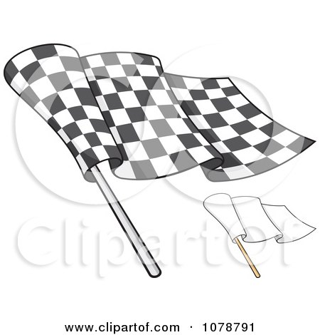 Clipart Checkered And Blank Flags 2 - Royalty Free Vector Illustration by Any Vector