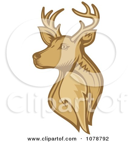 Clipart Brown Deer Stag Head - Royalty Free Vector Illustration by Any Vector