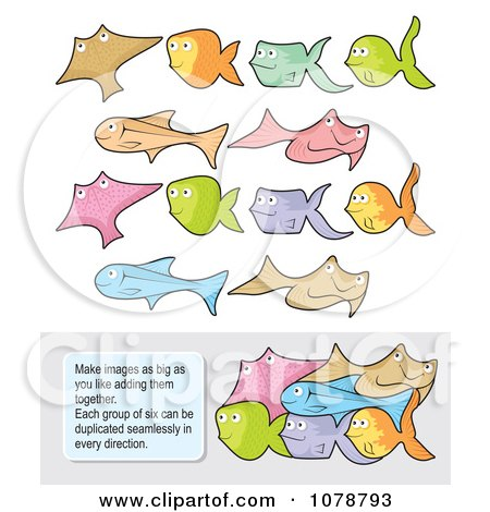 Clipart Set Of Colorful Fish Which Fit Together And Instructions - Royalty Free Vector Illustration by Any Vector