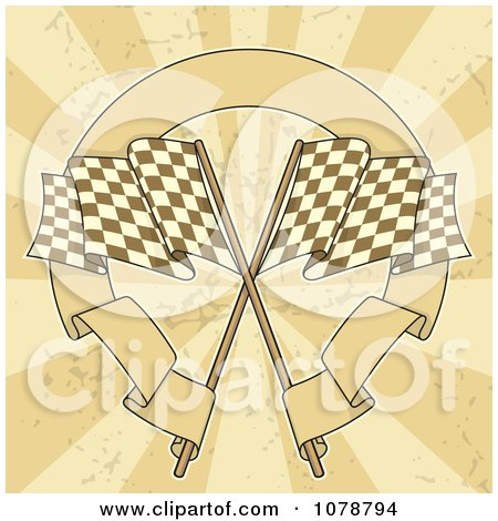 Clipart Two Checkered Racing Flags With A Circular Banner Over Grungy Rays - Royalty Free Vector Illustration by Any Vector