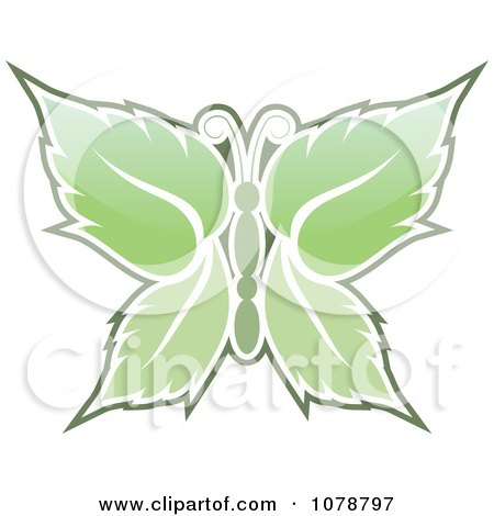 Clipart Mint Leaf Butterfly - Royalty Free Vector Illustration by Any Vector