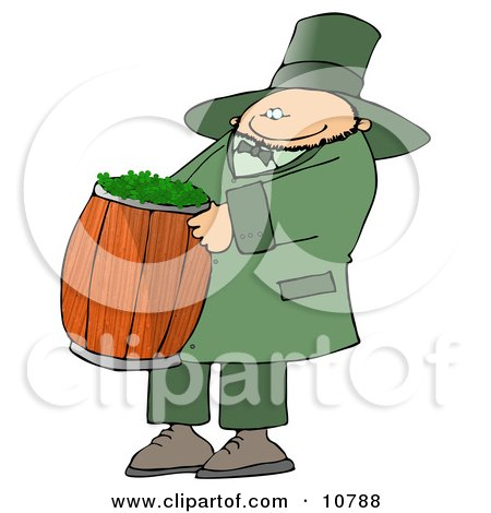 Happy St Paddys Day Leprechuan Carrying A Barrel Of Clovers Clipart