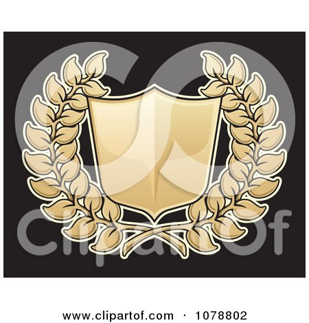 Clipart 3d Golden Shield And Wreath - Royalty Free Vector Illustration by Any Vector