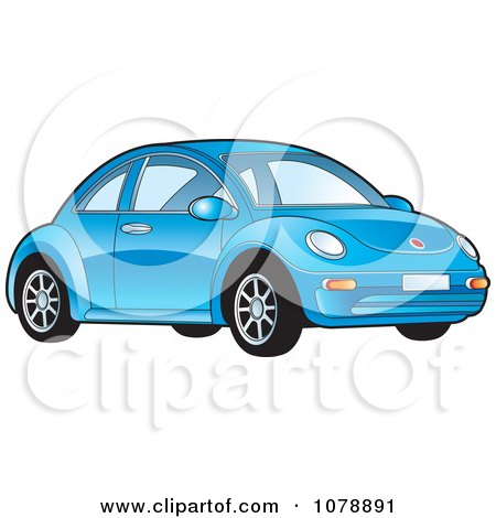Clipart Shiny Blue VW Bug Car - Royalty Free Vector Illustration by Lal Perera
