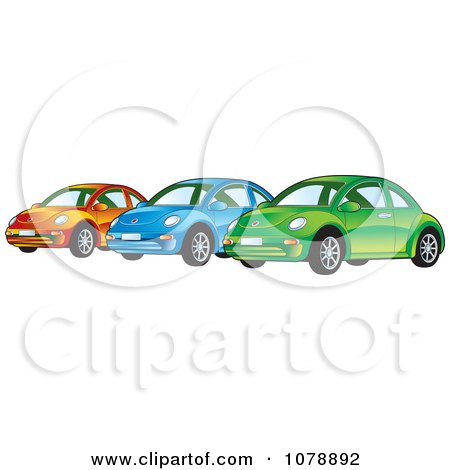 Clipart Shiny Orange Blue And Green VW Bug Cars - Royalty Free Vector Illustration by Lal Perera