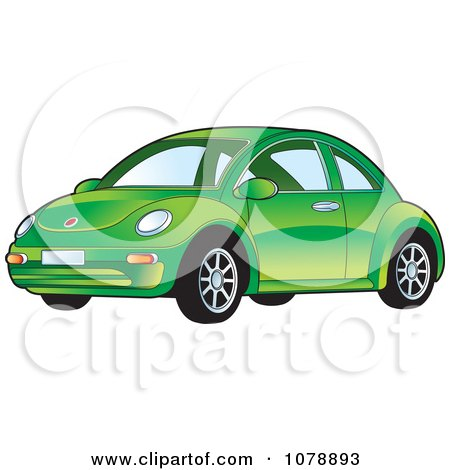 Clipart Shiny Green VW Bug Car - Royalty Free Vector Illustration by Lal Perera