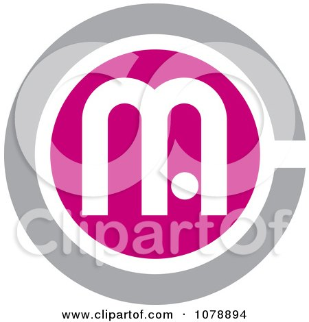 Clipart Pink And Gray MC Logo Icon - Royalty Free Vector Illustration by Lal Perera