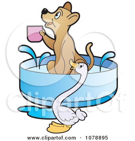 Clipart Goose By A Dog Holding A Cup In A Bath - Royalty Free Vector Illustration by Lal Perera