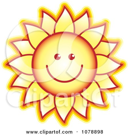Clipart Smiling Sunflower - Royalty Free Vector Illustration by Lal Perera