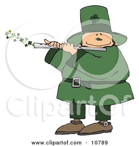 Happy Leprechaun Playing a Four Leaf Clover Flute on St Paddy's Day Clipart by djart