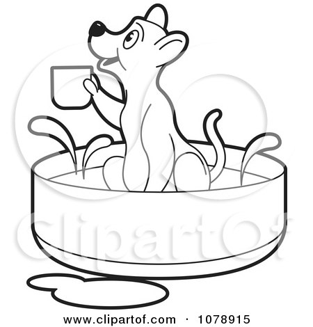 Clipart Outline Dog Holding A Cup In A Bath - Royalty Free Vector Illustration by Lal Perera