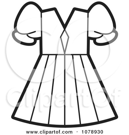clipart of a lineart frock or dress royalty free vector rh clipartof com clothing clipart black and white shirts clipart black and white