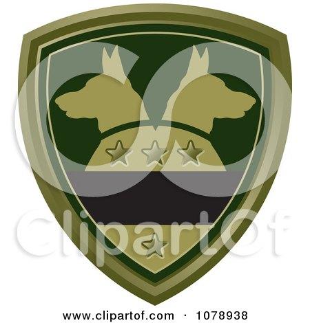 Clipart Green Alsatian Dog Shield Logo - Royalty Free Vector Illustration by Lal Perera