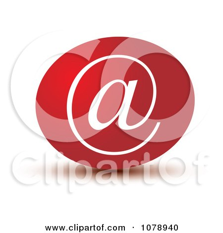 Clipart 3d Red Email Arobase Icon - Royalty Free Vector Illustration by Lal Perera