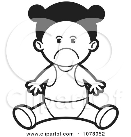 baby girl images free. Clipart Black And White Sad Baby Girl - Royalty Free Vector Illustration by