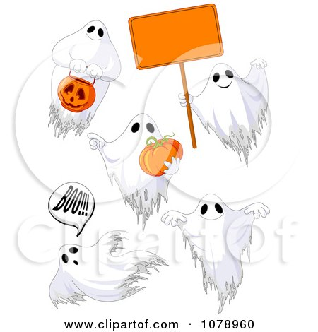 Clipart White Halloween Ghosts With A Sign And Pumpkins - Royalty Free Vector Illustration by Pushkin