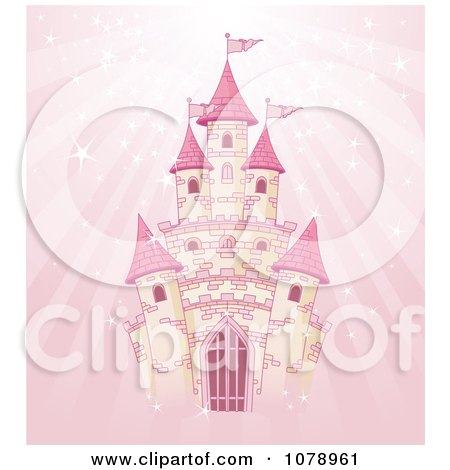 Clipart Magical Fairy Tale Castle Over Pink Rays - Royalty Free Vector Illustration by Pushkin