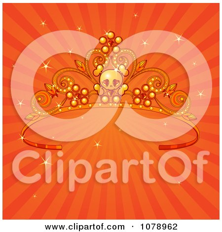 Clipart Skull Tiara Over Sparkly Orange Rays - Royalty Free Vector Illustration by Pushkin