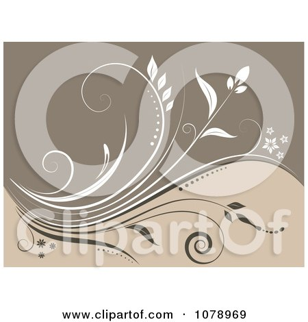 Clipart Beige Floral Background With A Vine - Royalty Free Vector Illustration by KJ Pargeter